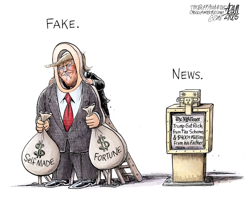 Adam Zyglis Trump Fake Self Made Fortune