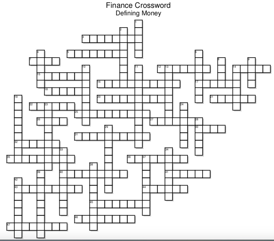 Finance Crossword Puzzle