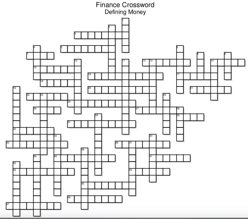 Finance Crossword Puzzle