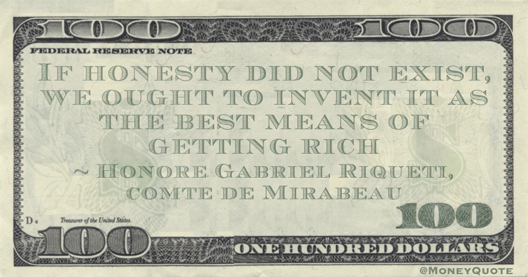If honesty did not exist, we ought to invent it as the best means of getting rich Quote