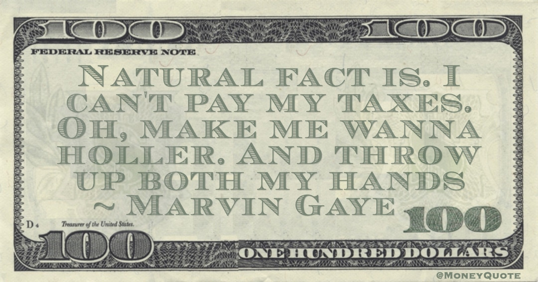 Natural fact is. I can't pay my taxes. Oh, make me wanna holler. And throw up both my hands Quote