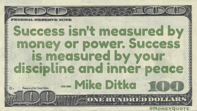 success is measured by your discipline and inner peace Quote