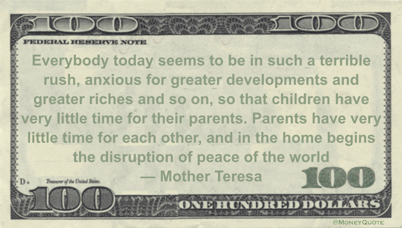 Mother Teresa Terrible Rush Greater Riches Money Quotes Classy Mother Teresa Quotes On Anxiety