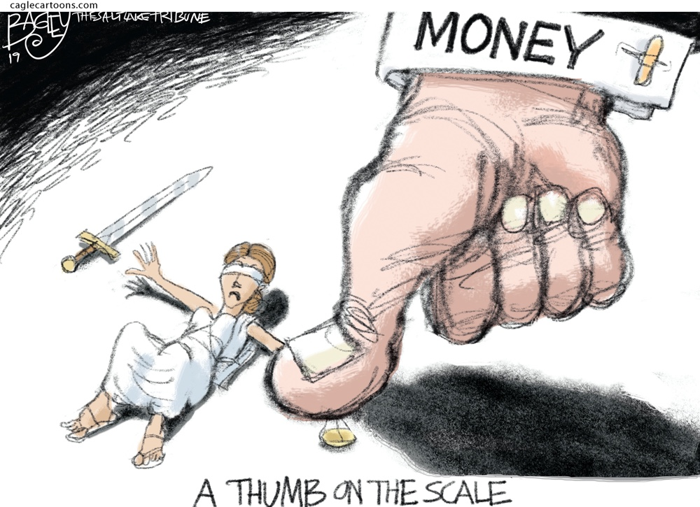 Pat Bagley Thumb Scale Justice Cartoon