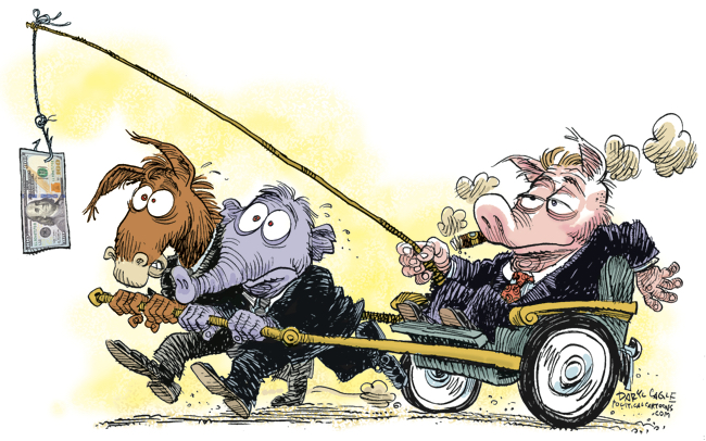 Political Corruption Carrot & Stick by Daryl Cagle of CagleCartoons.com