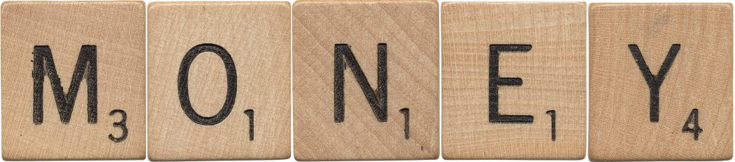 Money Spelled with Scrabble Tiles
