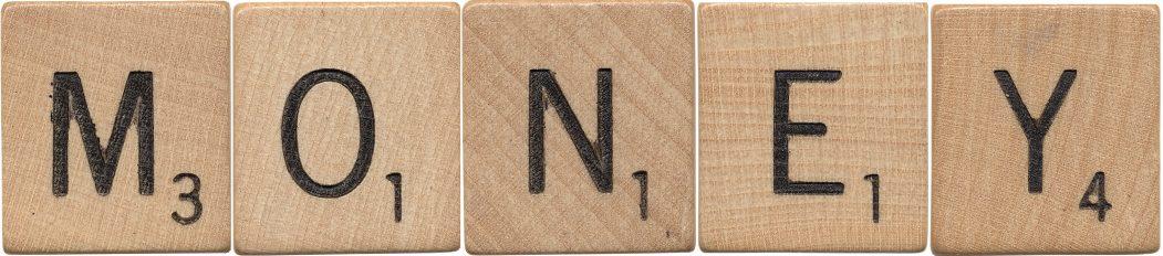 Money Spelled with Scrabble Tiles