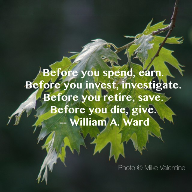 Before you spend, earn. Before you invest, investigate. Before you retire, save. Before you die, give Quote