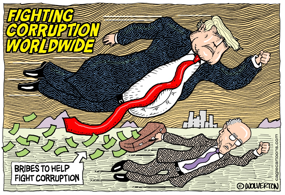 Trump Fighting Corruption Cartoon by Monte Wolverton